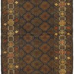 "Hand-knotted Rizbaft Brown Wool Rug 2'10"" x 9'4″"