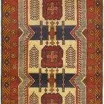 Hand-knotted Finest Rizbaft Brown Wool Rug 3'5″ x 6'11""