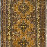 Hand-knotted Finest Rizbaft Green Wool Rug 4'1″ x 6'8″ (1)