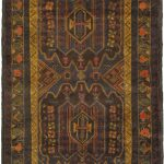 Hand-knotted Finest Rizbaft Brown Wool Rug 3'6″ x 6'3″