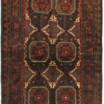 Hand-knotted Herati Dark Red Wool Rug 3'4″ x 6'3″