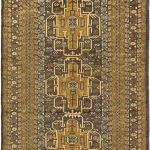 Hand-knotted Khandahar Finest Brown Wool Rug 3'7″ x 5'9″