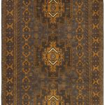 Hand-knotted Finest Rizbaft Brown Wool Rug 3'7″ x 6'0″