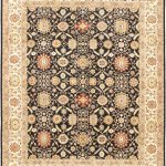Hand-knotted Peshawar Finest Black, Cream Wool Rug 8'0″ x 10'2″
