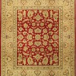 Hand-knotted Chobi Finest Beige, Red Wool Rug 8'1″ x 9'7″