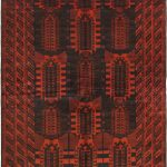 Hand-knotted Royal Balouch Dark Red Wool Rug 6'7″ x 10'2″