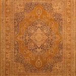 Hand-knotted Mirzapur Dark Gold Wool Rug 8'1″ x 10'4″