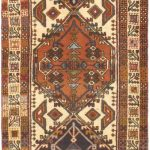 Hand-knotted Gharajeh Copper, Cream Wool Rug 2'4″ x 9'8″