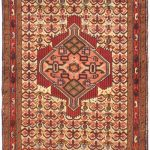 Hand-knotted Roodbar Cream, Red Wool Rug 2'6″ x 8'10""