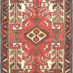 "Hand-knotted Hamadan Red Wool Rug 3'3″ x 4'10"" (1)"