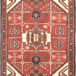 "Hand-knotted Hamadan Cream, Red Wool Rug 3'3″ x 4'11"" (3)"