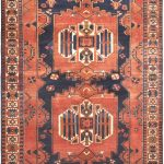 "Hand-knotted Bakhtiar Copper, Navy Wool Rug 6'11"" x 10'0″"