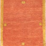 Hand-knotted Kashkuli Gabbeh Copper Wool Rug 3'7″ x 4'7″