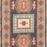 Hand-knotted Royal Kazak Copper, Dark Navy Wool Rug 2'0″ x 6'7″