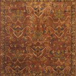 Hand-knotted Jamshidpour Burgundy, Copper Wool Rug 6'6″ x 9'0″