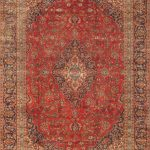 Hand-knotted Kashan Red Wool Rug 8'9″ x 12'2″