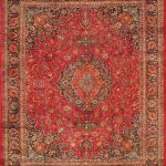 Hand-knotted Mashad Red Wool Rug 10'0″ x 12'3″