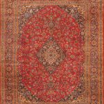 Hand-knotted Mashad Red Wool Rug 10'0″ x 13'0″