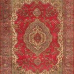"Hand-knotted Tabriz Light Navy, Red Wool Rug 9'10"" x 13'1″"