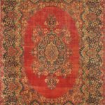 Hand-knotted Kerman Red Wool Rug 9'2″ x 12'11""
