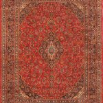 Hand-knotted Kashmar Red Wool Rug 9'8″ x 13'0″