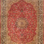 Hand-knotted Mashad Red Wool Rug 9'6″ x 12'3″