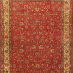 "Hand-knotted Tabriz Cream, Red Wool Rug 9'10"" x 12'8″"