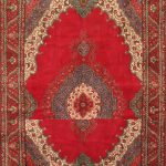 Hand-knotted Tabriz Red Wool Rug 9'8″ x 13'10""