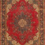 Hand-knotted Tabriz Red Wool Rug 10'1″ x 13'1″