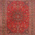 Hand-knotted Mashad Red Wool Rug 9'6″ x 12'1″