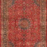 Hand-knotted Kashmar Red Wool Rug 9'8″ x 13'0″ (1)