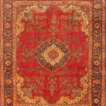 "Hand-knotted Tabriz Red Wool Rug 9'10"" x 12'3″"