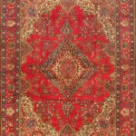 "Hand-knotted Tabriz Red Wool Rug 9'10"" x 13'0″"
