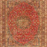Hand-knotted Kerman Red Wool Rug 9'8″ x 12'9″