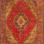 Hand-knotted Tabriz Red Wool Rug 10'0″ x 13'1″