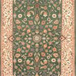 "Hand-knotted Royal Kashan Green, Pink Wool Rug 3'10"" x 6'1″"