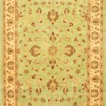 Hand-knotted Chobi Finest Beige, Green Wool Rug 6'8″ x 9'10""