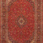Hand-knotted Kashan Red Wool Rug 9'4″ x 13'4″
