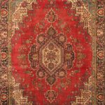 Hand-knotted Tabriz Black, Red Wool Rug 8'9″ x 12'6″
