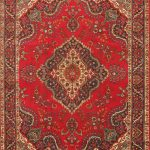Hand-knotted Tabriz Red Wool Rug 9'2″ x 12'5″