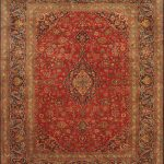"Hand-knotted Kashan Red Wool Rug 8'11"" x 11'5″"