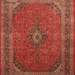 """Hand-knotted Mashad Red Wool Rug 9'10"""" x 12'7″ (1)"""