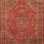 "Hand-knotted Sabzevar Red Wool Rug 9'10"" x 12'11"" (1)"