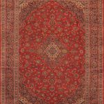 "Hand-knotted Kashan Red Wool Rug 9'10"" x 13'4″ (1)"