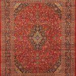 "Hand-knotted Kashan Red Wool Rug 9'10"" x 12'9″"