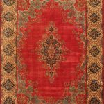 Hand-knotted Kerman Cream, Red Wool Rug 9'8″ x 13'1″