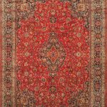 Hand-knotted Kashmar Red Wool Rug 9'6″ x 13'5″