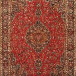 Hand-knotted Kashmar Red Wool Rug 9'2″ x 12'11""