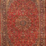 Hand-knotted Isfahan Red Wool Rug 9'6″ x 12'10""