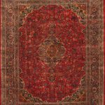 "Hand-knotted Kashmar Red Wool Rug 9'11"" x 12'6″"